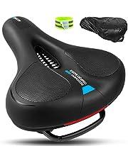 ENONEO Fietszadel, zacht fietszadel, gel, mountainbike, comfortabel, hol, ergonomisch, ademend, fietszadel, MTB, heren, dames, breed tourzadel met reflectorband voor BMX/racefiets