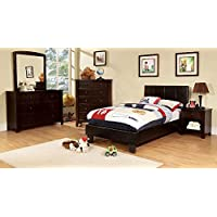Besson Leather PU Platform 4 Piece Twin Bed, 1 Nightstand, Dresser, Mirror - Espresso