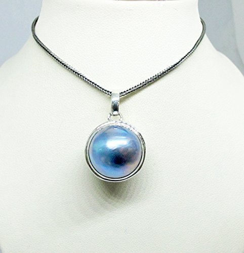 (handmade 925 sterling silver pendant with 16 mm round blue mabe pearl, ball style pendant with blue mabe pearl, genuine mabe pearl necklace)