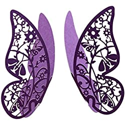 Fityle 50x Butterfly Wine Glass Name Place Cards Wedding Cup Topper Decor -Purple