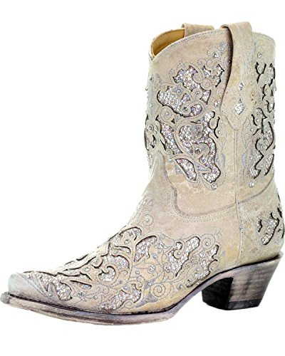 Corral Women's Glitter Inlay & Crystals Short Cowgirl Boot - White - WHITE - 8 - M