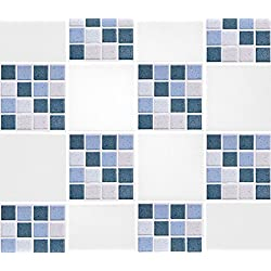 "Pack of 10 4"" x 4"" Blue Mosaic Tile Transfer Stickers Bathroom Kitchen DIY Home Improvements"