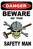 "3 – Danger Beware of The Safety Man 1.5"" x 2.25"" Hard Hat Stickers H384"