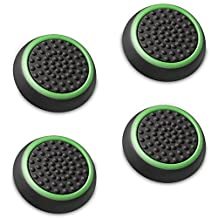 Fosmon Silicone Thumb Stick Analog Controller Grip Caps (4 Pack / 2 Pair) For Xbox 1, 1 S, 360, PS4, PS3, Nintendo Switch, Wii U, Wii (Black/Green)