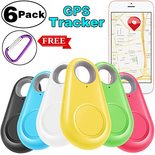 6 Pack Smart GPS Tracker Key Finder Locator Wireless Anti Lost Alarm Sensor Device for Kids Dogs Car Wallet Pets Cats Motorcycles Luggage with Free 6 Carabiner Smart Phone Selfie Shutter iOS Android -