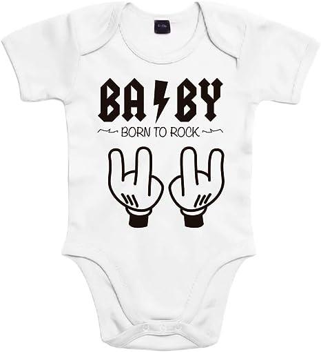 SUPERMOLON Body bebé algodón Baby Born to rock 3 meses Blanco ...