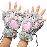 Arshiner Women Bear Plush Cat Paw Claw Glove Soft Winter Gloves Fingerless Gloves