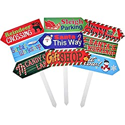 """Gift Boutique Christmas Yard Garden Stakes North Pole Directional Sign Decor, Set of 3 24"""" Wooden Signs for Home Outdoor Patio Lawn Pathway Walkway Driveway Front Porch, Holiday Home Decorations"""