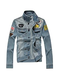 Partiss Men's Outerwear Fashion Frayed Faded Denim Jacket