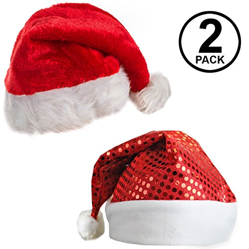 Santa Hats For Adults - Plush Santa Hat - Red Sequin Santa Hat - Christmas Hats - (2 Pack) Holiday Hats