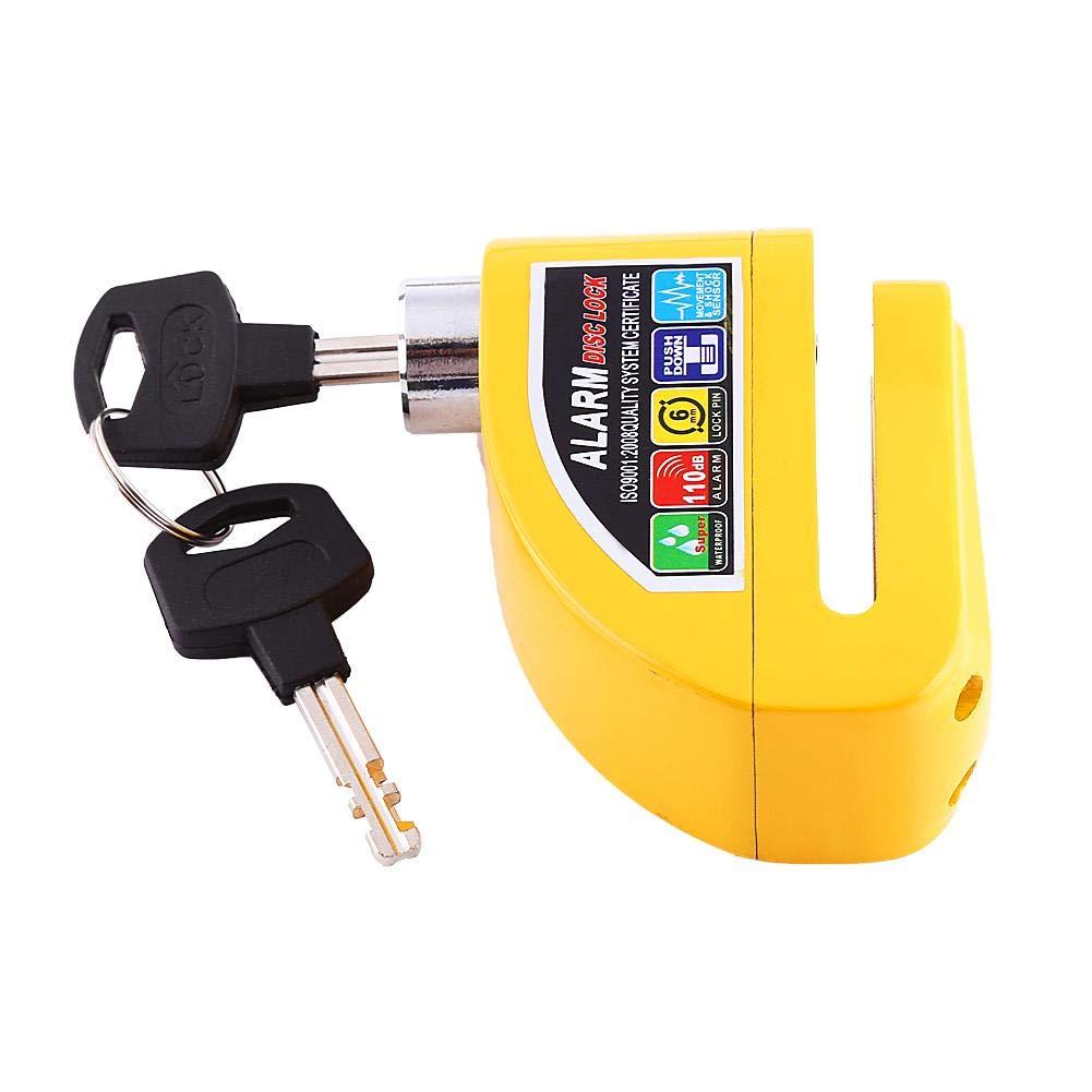 Alarm Disc Brake Lock Motorcycle Anti-theft Disc Lock Security Alarming System 110dB Security Lock Waterproof for Motorcycle Bike Scooter Yellow