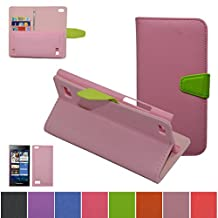 BlackBerry Leap Case,Mama Mouth [DETACHABLE Feature] Folio Flip Hard Case [Stand View] Premium PU Leather [Wallet Case] With Built-in Media Stand ID Credit Card / Cash Slots and Inner Pocket Cover For BlackBerry Leap Z20, Pink