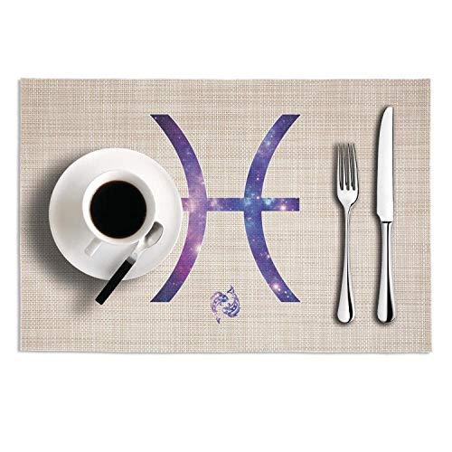 (NUMOB Galaxy Zodiac Pisces Heat-Resistant Placemats Anti-Skid Stain Resistant PVC Table Mats Set of 2)