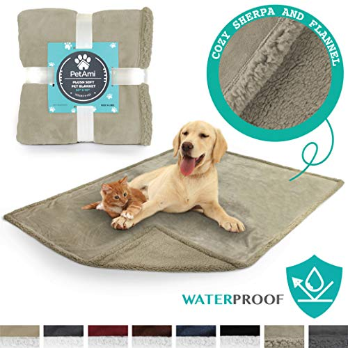 "PetAmi Premium Waterproof Soft Sherpa Pet Blanket by Cozy, Comfortable, Plush, Lightweight Microfiber, 100% WATERPROOF (50"" x 40"", Taupe/Taupe Sherpa)"