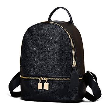 lininglock remache mujeres mochila mochilas escolares mochilas Niñas Deporte para mujer Herald Fashion de piel sintética de alta calidad, negro: Amazon.es: ...