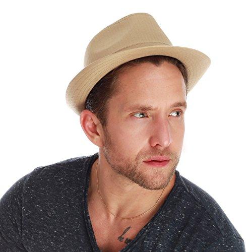5147f3dab52 THE HAT DEPOT Unisex Cotton Twill Herringbone Fedora Hat