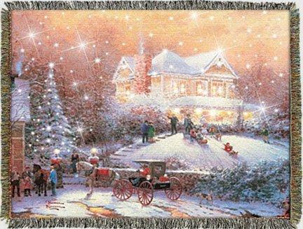 Thomas Kinkade Victorian Christmas II 100% Cotton Throw Blanket (Thomas Victorian Tapestry)