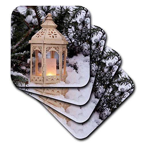 (3dRose Andrea Haase Christmas Photography - Winterly Photography With Vintage Lantern In The Snow - set of 4 Ceramic Tile Coasters (cst_318593_3))