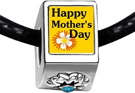 Chicforest Silver Plated Happy Mother's Day Photo Blue Zircon Crystal December Birthstone Flower Charm Beads Fits Pandora Bracelets