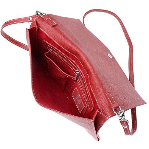 Pochette aus Leder Made in Italy mit Träger und Überschlag der Marke DUDU Rot