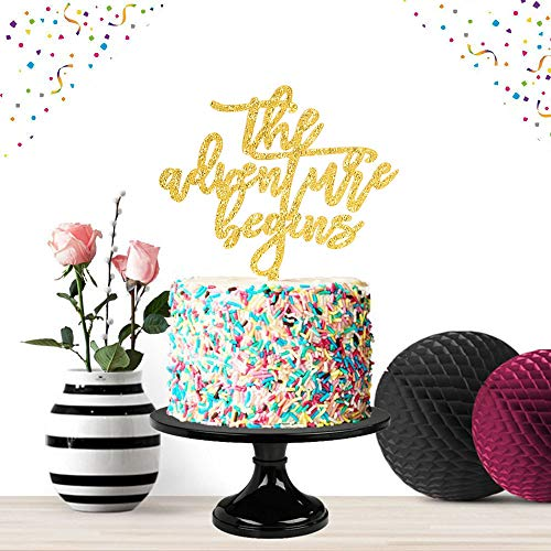 The Adventure Begin Gold Cake Topper Party Decor 2019 Congrats Grad Photo Prop High School Graduation Wedding - Top Wedding Topper New Cake