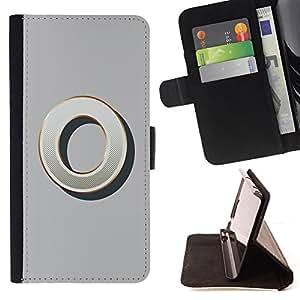 BullDog Case - FOR/HTC One M8 / - / O 0 ZERO GREY GOLD NOTHING INITIAL /- Monedero de cuero de la PU Llevar cubierta de la caja con el ID Credit Card Slots Flip funda de cuer