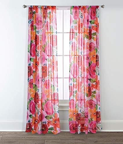 (Sara B. Santa Monica Printed Sheer Curtain Panel (Set of 2) 95 in. Pink/Red)