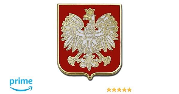 National Country Flag Poland Eagle Crest Enamel Pin Badge Brooch