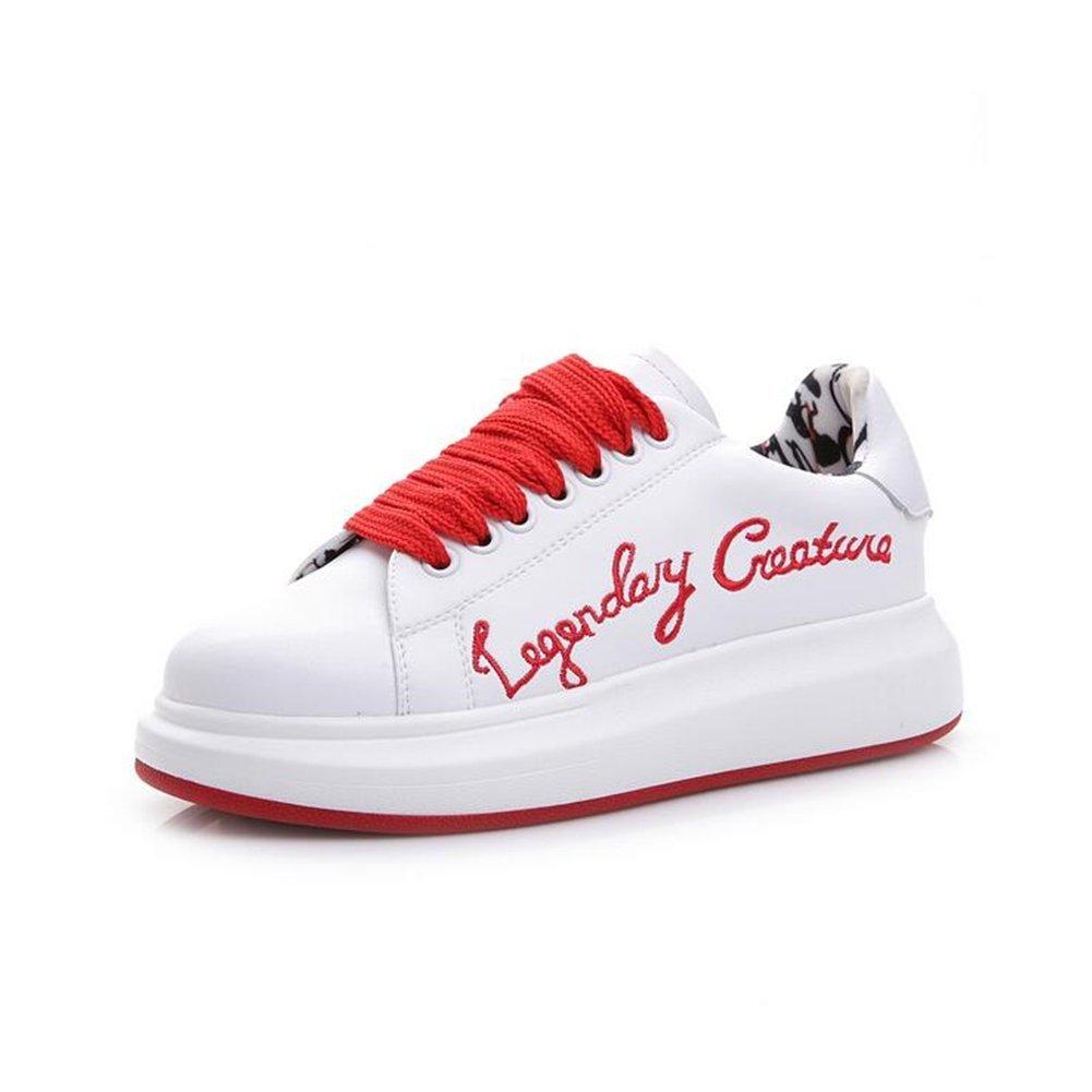 perfecto Zapatos De Mujer Unisex Otoño Invierno Invierno Invierno Nuevos Zapatos Casuales, Bordado De Las Señoras Pequeños Zapatos blancoos, Zapatillas De Deporte De Fondo Grueso,rojo,37  Seleccione de las marcas más nuevas como