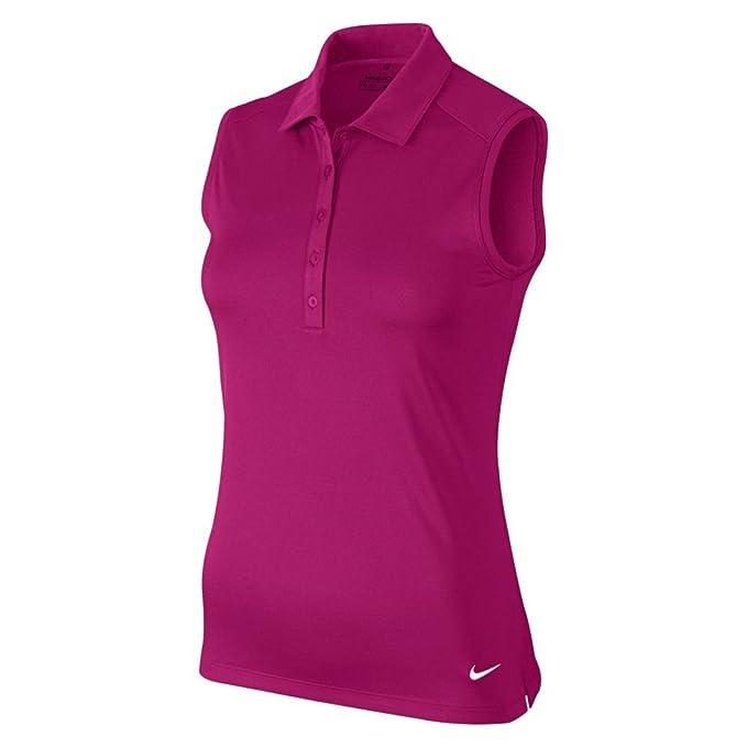 Nike W Nk Dry Sl Polo de Golf, Mujer, Rosa (Sport Fuchsia/White ...