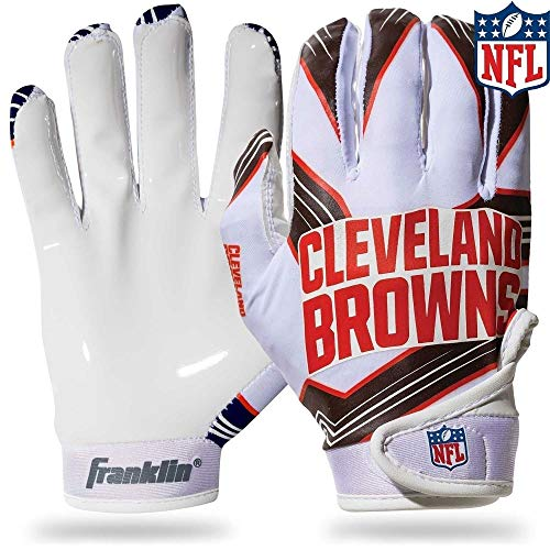 Franklin Sports NFL Cleveland Browns Youth Football Receiver Gloves - Medium/Large