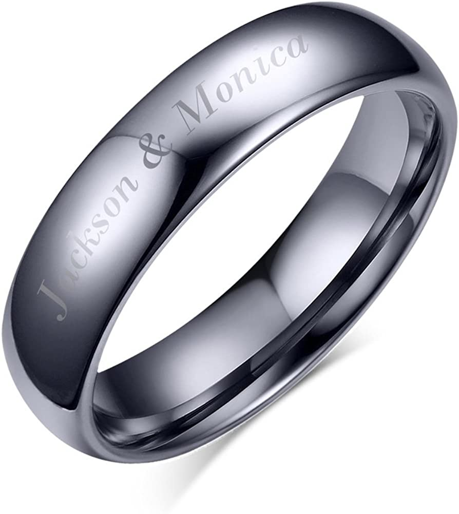 Mealguet Jewelry Personalized Engraving His Hers Domed Plain Simple Tungsten Carbide Wedding Promise Engagement Ring Bands for him and her