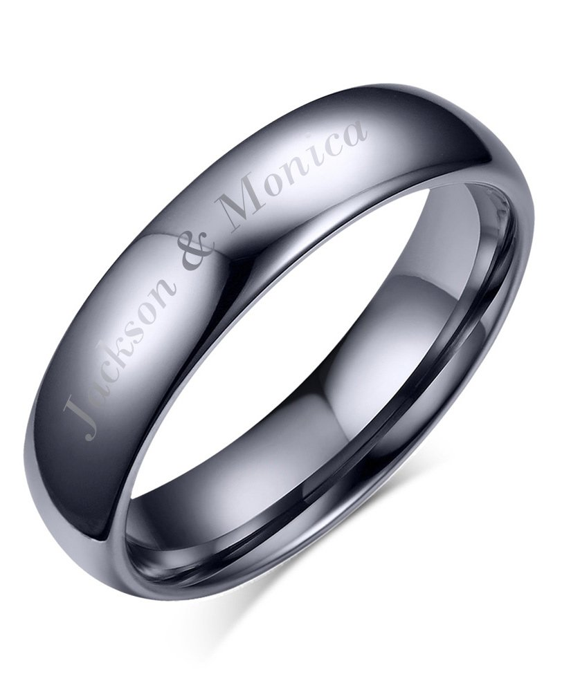 Mealguet Jewelry Free Engraving-Personalized His Hers Domed Plain Simple Tungsten Carbide Wedding Promise Engagement Ring Bands, 6mm