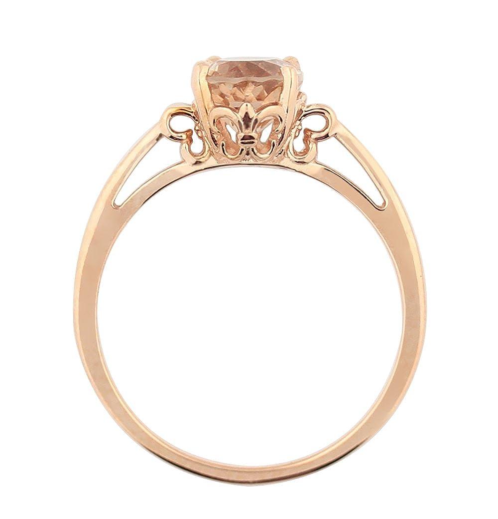 2ct Oval Cut Peach Morganite Push Back Stud Earrings 14k Rose Gold Finish Gemstone Jewelry & Watches