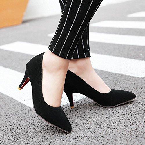 Latasa Mujeres Pointed-toe Mid Heel Bombas Zapatos Negro
