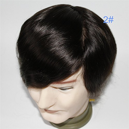 (Lumeng Mens Hairpiece Male Hair Unit Real Hair Men Toupee Man Unit DurableLace With Npu Reinfore Lace Male Wig 7x9 Inch 6 Inch Length Color 2# )