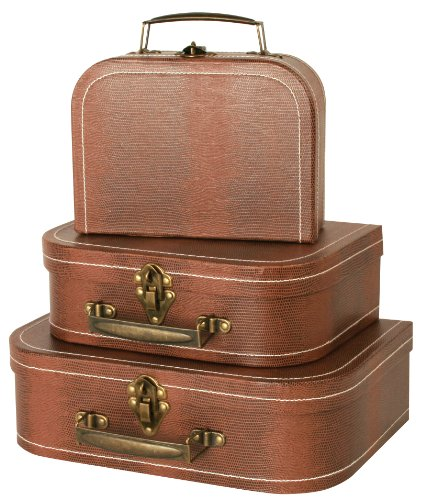 Wald Imports Brown Suitcases, Set of 3 (Vintage Small Suitcase compare prices)