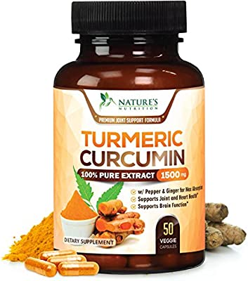 Turmeric Curcumin 100% Pure Extract 95% Curcuminoids with Bioperine Black  Pepper for Best Absorption, Best Joint Pain Relief, Made in USA, Turmeric