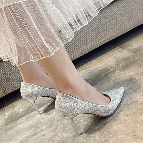 Gold Heels PU Summer Pointed Polyurethane Heel Toe Basic Pump Stiletto Red Red Shoes Women's ZHZNVX Sequin Silver Eq0wHOnABx