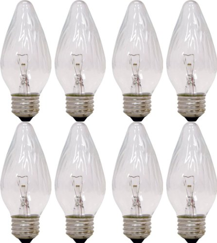 GE Auradescent 75340 25-Watt, 120-Lumen Flame Tip Light Bulb with Medium Base, 8-Pack