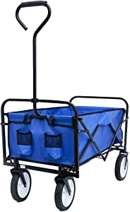 Collapsible Outdoor Utility Wagon Folding Garden Shopping Beach Cart with Adjustable Handles and Cup Holders for Shopping and Park Picnic, Beach Trip, Outdoor Activities, Camping (Blue)