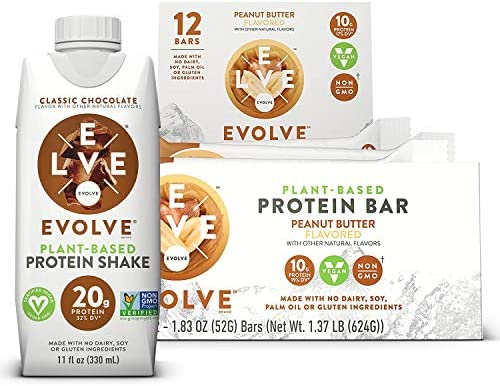Evolve Plant-Based Bundle Pack, Peanut Butter 10g Protein Bars and 20g Protein Classic Chocolate Shake, Peanut Butter, 1.83oz Bars 12 Pack 11oz Cartons 12 Pack