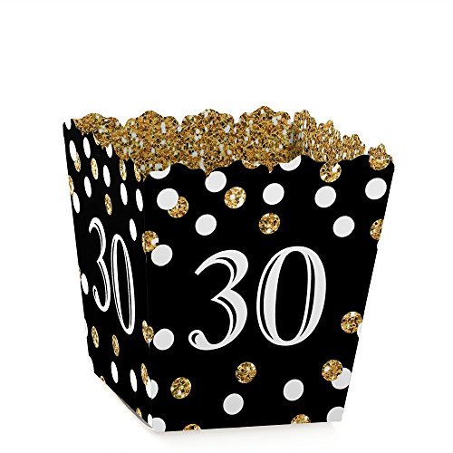 Adult 30th Birthday - Gold - Party Mini Favor Boxes - Birthday Party Treat Candy Boxes - Set of -