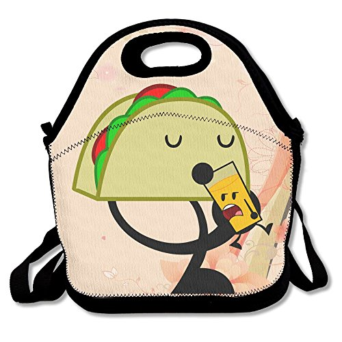 Hot Sauce Costume Taco Bell - Hoeless Taco Drinks Insulated Lunch Box With Zipper,Carry Handle And Shoulder Strap For Adults Or Kids Black
