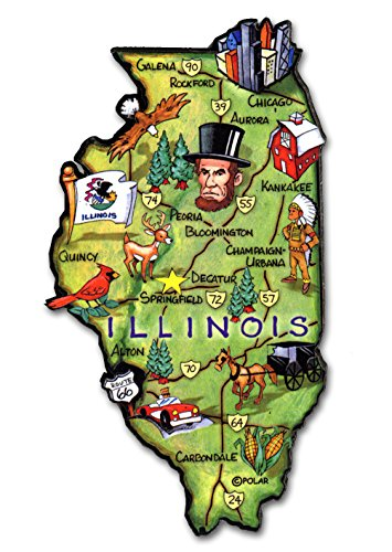 ARTWOOD MAGNET - ILLINOIS STATE MAP (Illinois Fridge Magnet)