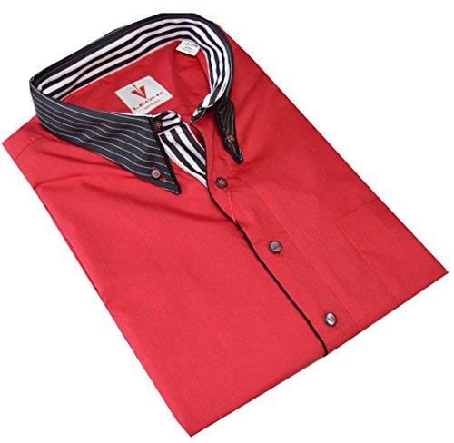 Leché Designerhemd, langarm im knalligen Rot