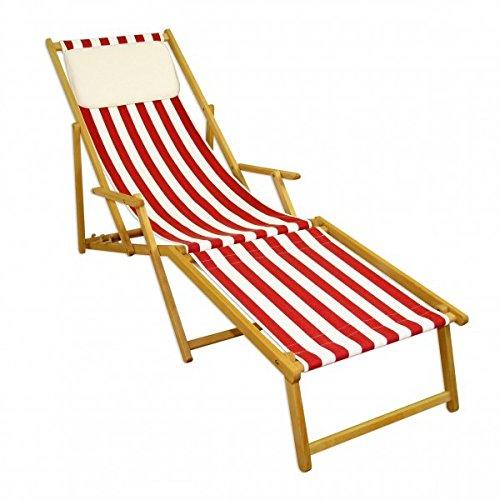 10–314N F KH Chaise longue avec repose-pieds clair U Coussin Chaise longue de jardin Chaise longue rouge/blanc
