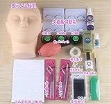 WellieSTR 21pcs Mannequin Training Head Practice Tweezers Fake Eyelash Glue Makeup Set Kit