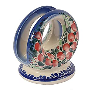 Traditional Polish Pottery, Handcrafted Ceramic Serviette Holder, Height 8cm, Boleslawiec Style Pattern, D.701.Cranberry