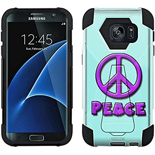 Samsung Galaxy S7 Edge Hybrid Case Purple Peace on Turquoise 2 Piece Style Silicone Case Cover with Stand for Samsung Galaxy S7 Edge Sales